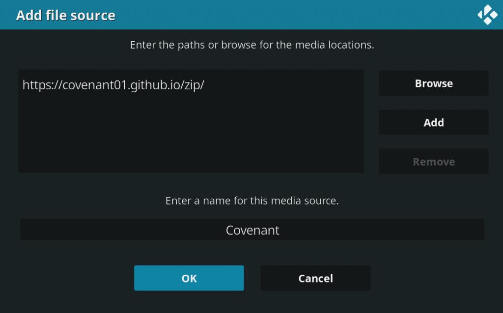 enter media source name covenant