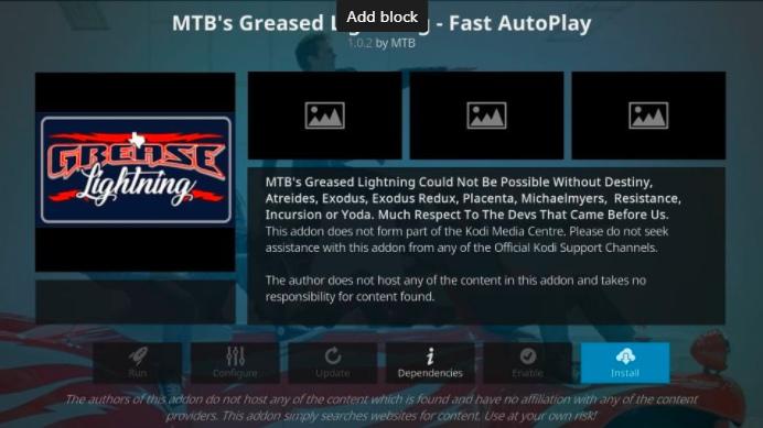 how to install mtb's grease lightning kodi addon