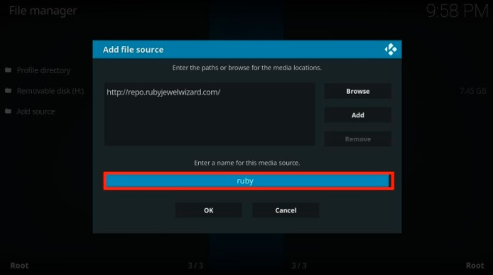 add ruby repo link in file manager