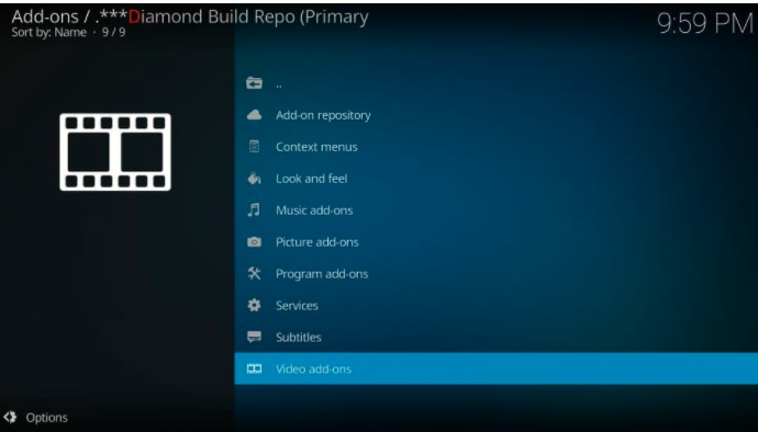 video addons section in diamond build repository