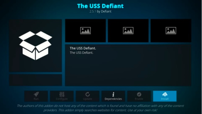 download the uss defiant addon for kodi