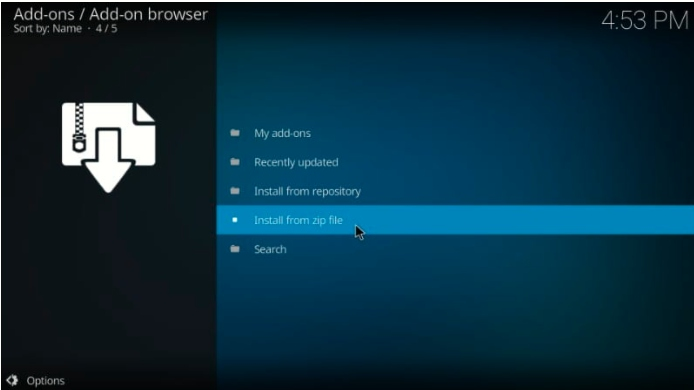 how to install kodi addon from zip file