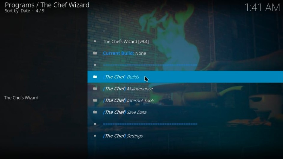 the chef builds for kodi