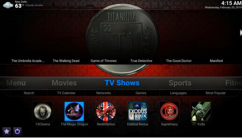Titanium kodi build skin