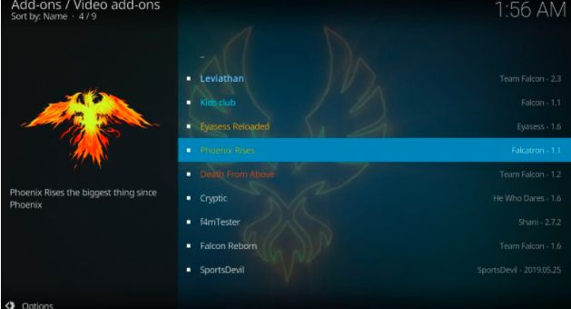 download phoenix rises addon on kodi