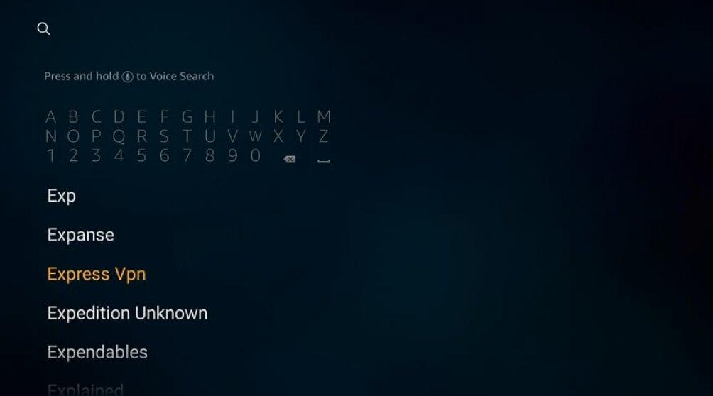 search Express VPN on fiestick