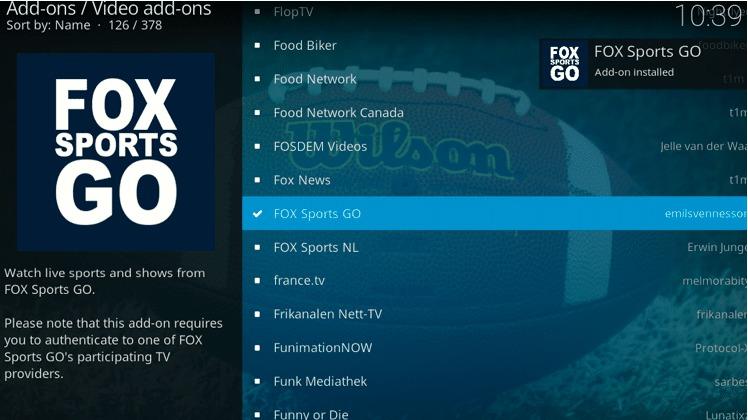 FOX Sports GO add-on installed