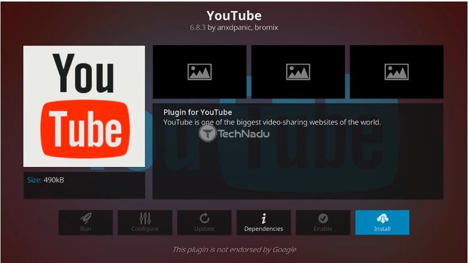 install youtube kodi addon