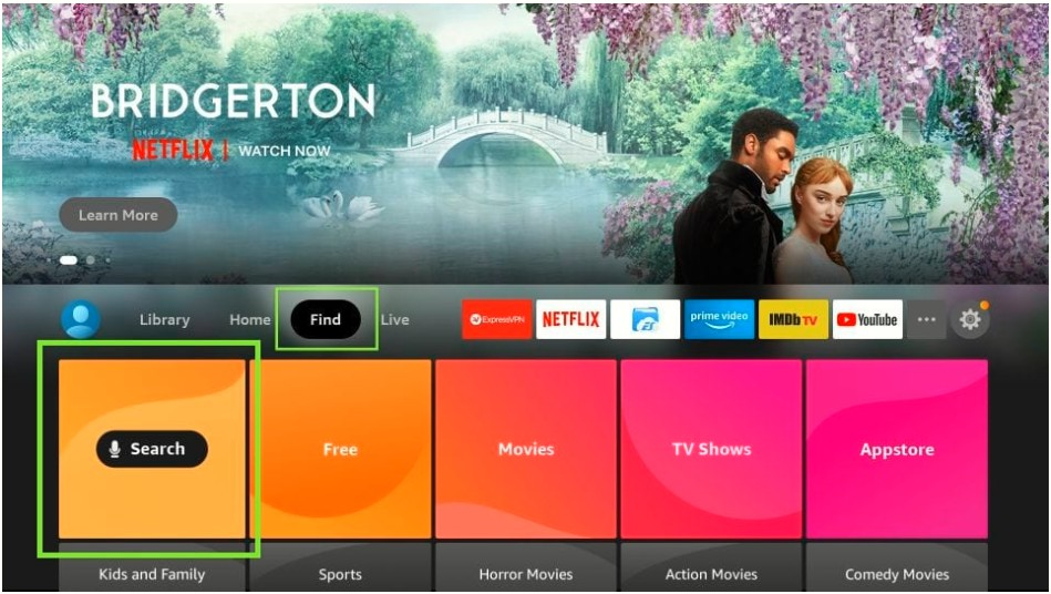 home page of firestick tv, find and search option
