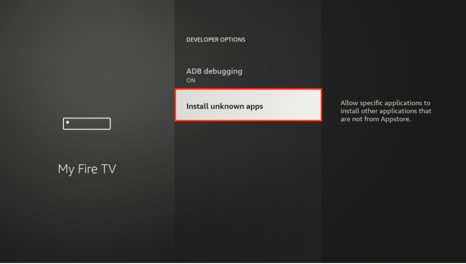 Unknown apps option