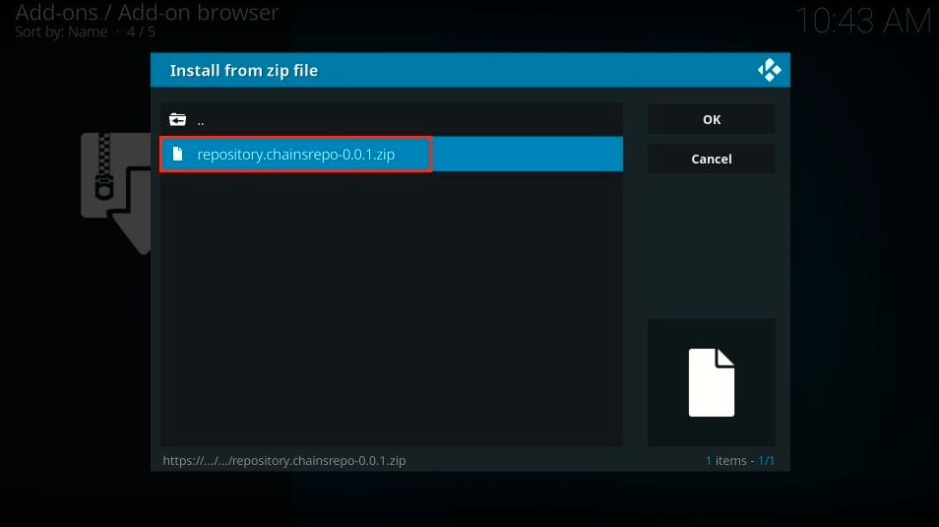 Click the zip file named repository.chainsrepo